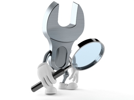 Wrench character looking through magnifying glass isolated on white background Stok Fotoğraf
