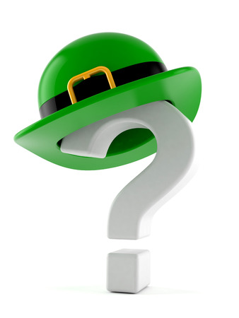 St. Patrick hat with question mark isolated on white background Banque d'images
