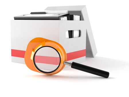 Ring binders with magnifying glass isolated on white background Stock Photo