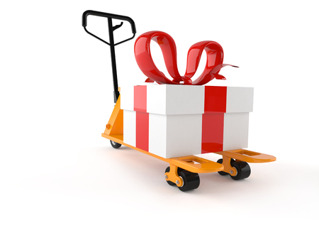 Hand pallet truck with gift isolated on white background