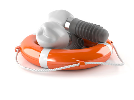 Dental implants with life buoy isolated on white background