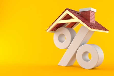 Percent symbol with house roof isolated on orange background Banque d'images