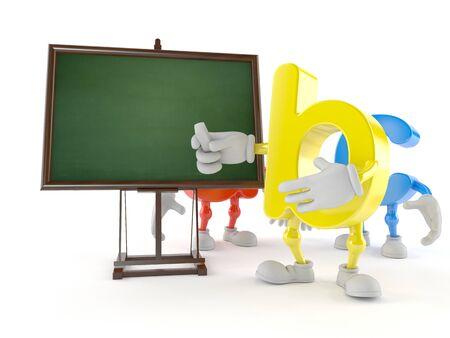 ABC character with blank blackboard isolated on white background