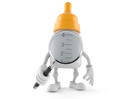 Baby bottle character looking through magnifying glass isolated on white background