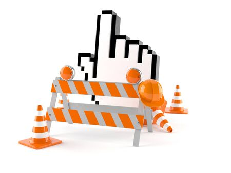 Internet cursor with traffic cones isolated on white background