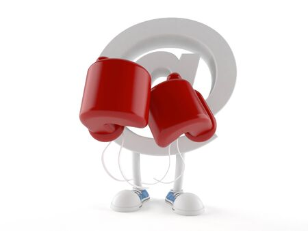 E-mail character with boxing gloves isolated on white background Stock Photo