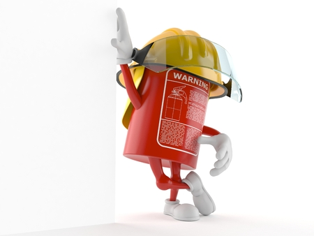 Fire extinguisher character isolated on white background 写真素材