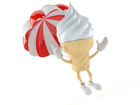 Ice cream character with parachute isolated on white background