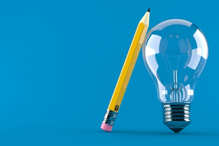 Light bulb with pencil concept isolated on blue background Banco de Imagens