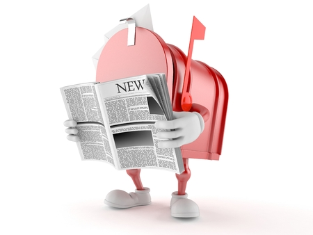 Mailbox character reading newspaper on white background