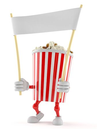 Popcorn character holding blank banner on white background