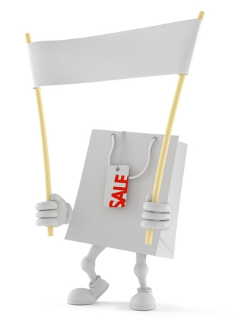 Shopping bag character holding blank banner isolated on white background Stock Photo