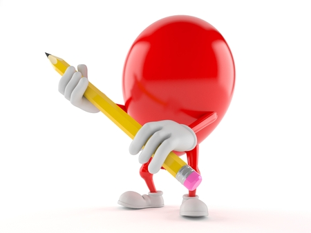 Balloon character holding pencil on white background Фото со стока