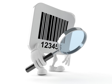 Barcode character looking through magnifying glass isolated on white background 스톡 콘텐츠