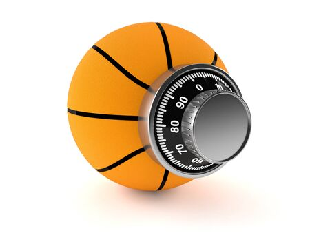 Basketball with combination lock isolated on white background