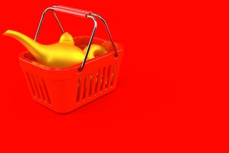 Magic lamp inside shopping basket isolated on red background Stock Photo