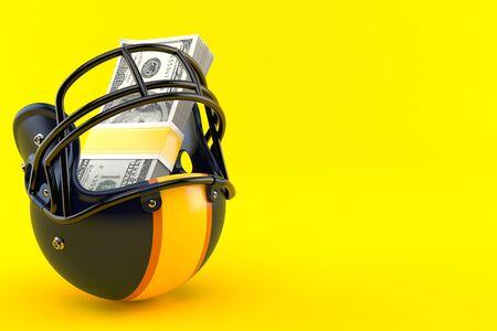 American football helmet with money isolated on orange background