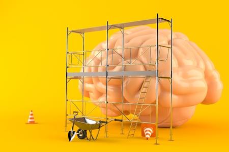 Hersenen renovatie concept geïsoleerd op een oranje achtergrond