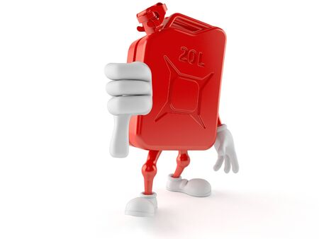 Petrol canister character with thumb down isolated on white background