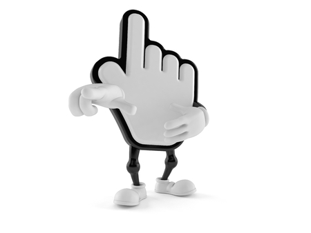 Cursor character pointing finger isolated on white background