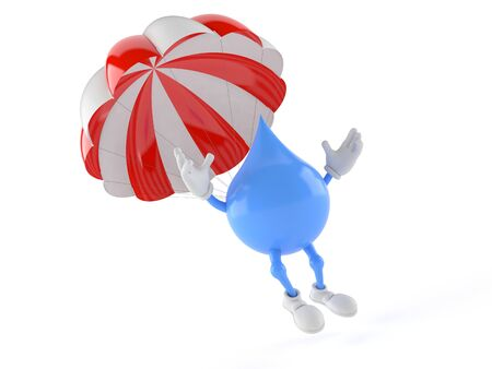 Water drop character with parachute isolated on white background