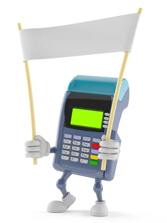 Credit card reader character holding blank banner isolated on white background Imagens