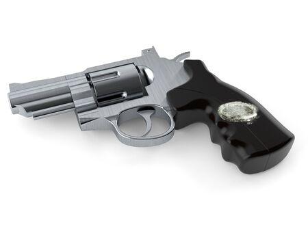 Gun with fingerprint isolated on white background