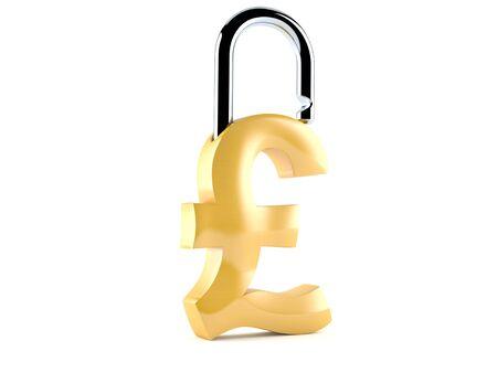 Pound padlock concept white background