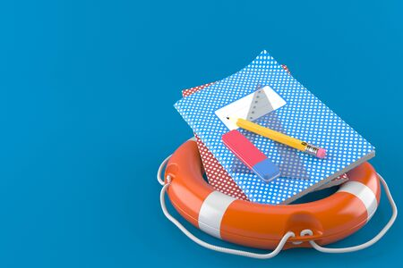 School supplies with life buoy isolated on blue background