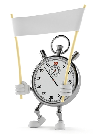Stopwatch character holding blank banner isolated on white background