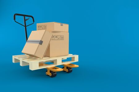 Pallet truck with boxes isolated on blue background 写真素材