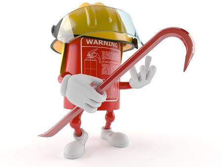 Fire extinguisher character holding crowbar isolated on white background Stock Photo