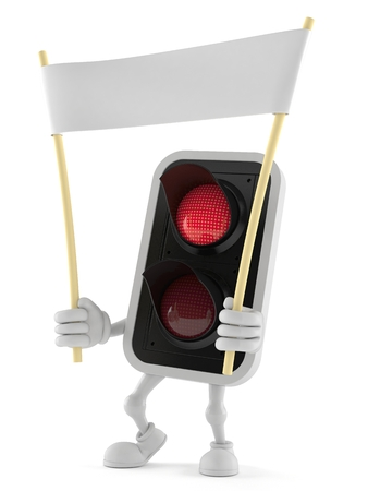 Red traffic light character with blank banner isolated on white background Imagens