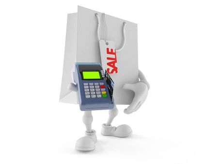 Shopping bag character holding credit card reader isolated on white background