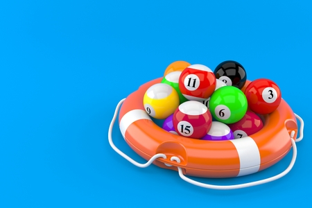 Pool balls with life buoy concept isolated on blue background
