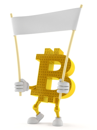 Bitcoin character holding blank banner isolated on white background Stock Photo