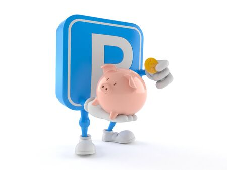 Parking symbol character holding piggy bank isolated on white background Imagens