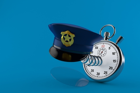 Police hat with stopwatch isolated on blue background