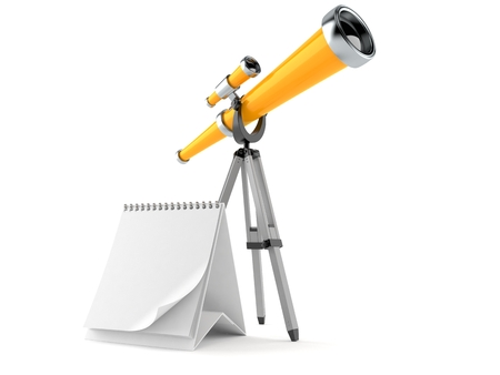 Telescope with blank calendar isolated on white background Stock Photo