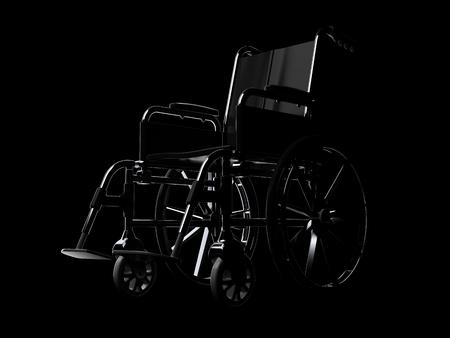 Wheelchair on black background