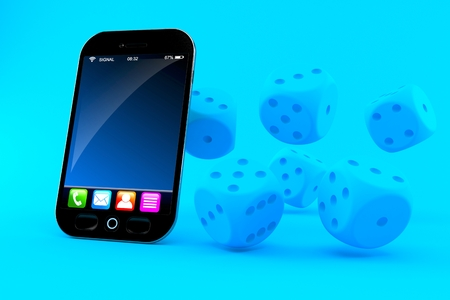 Gambling background with smart phone in blue color Stock Photo