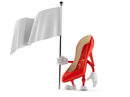 High heels character holding blank flag isolated on white background Stock Photo