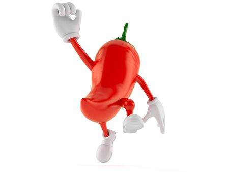 Hot paprika character jumping in joy isolated on white background