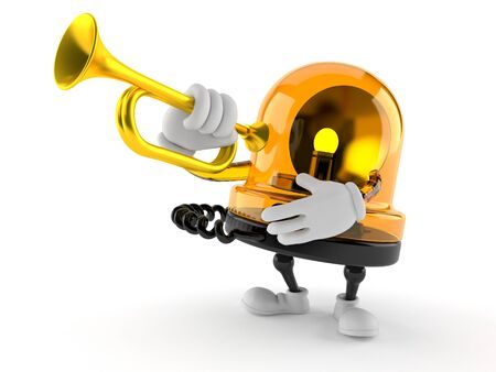 Emergency siren character playing the trumpet isolated on white background
