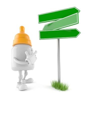 Baby bottle character with signpost isolated on white background