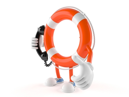 Life buoy character holding a telephone handset isolated on white background