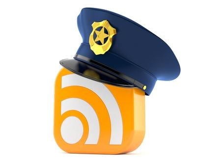 白い背景に隔離されたRSSアイコンを持つ警察の帽子 写真素材 - 98124983