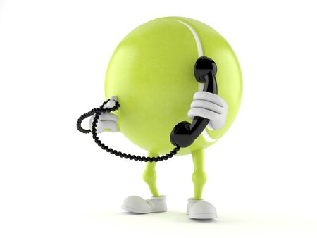 Tennis ball character holding a telephone handset isolated on white background