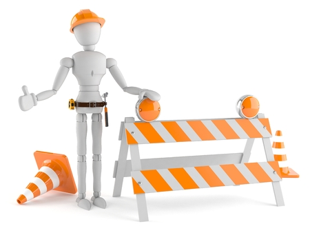 Manual worker with barrier isolated on white background Stock Photo