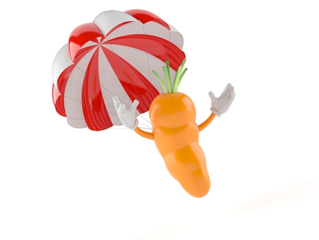 Carrot character with parachute isolated on white background